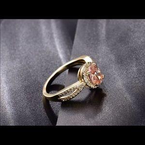 18K gold citrine/white sapphire ring